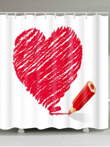 Chic Heart and Pencil Printed Valentine's Day Waterproof Shower Curtain