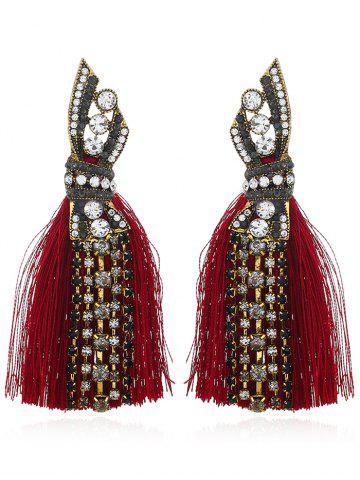 Shop Tribal Geometric Faux Diamond Tassel Drop Earrings