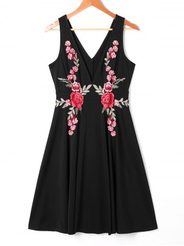 Trendy Embroidered Plunging Neckline Swing Dress