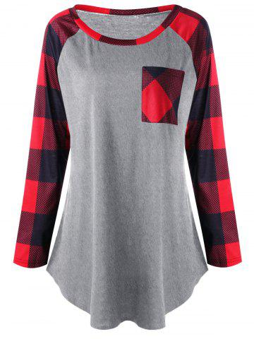 New Plus Size Patch Pocket Plaid T-shirt