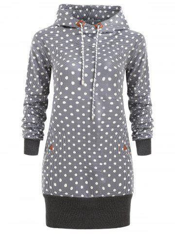 Affordable Drawstring Polka Dot Tunic Hoodie