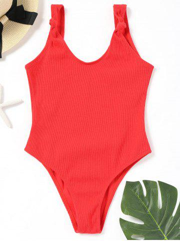 Fashion Ribbed High Leg One Piece Swimwear No Pad