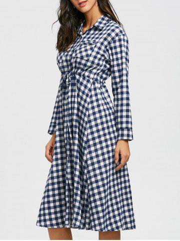 Trendy Long Sleeve Plaid Midi Shirt Dress