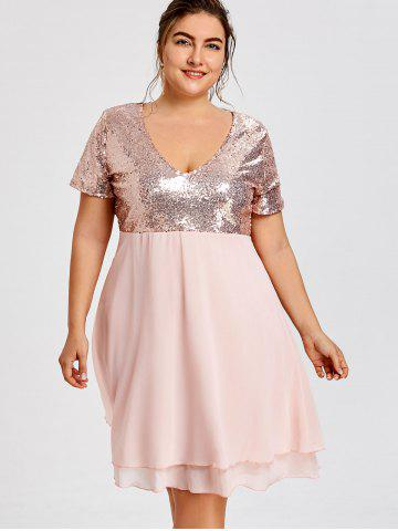 68251a31b63 Glitter Plus Size Sequin Homecoming Dress