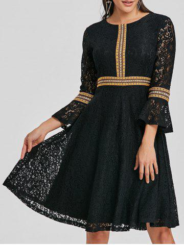 Store Embroidered Lace Bell Sleeve A Line Dress