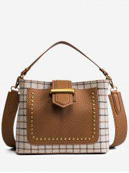 Color Block Plaid Studs Handbag -