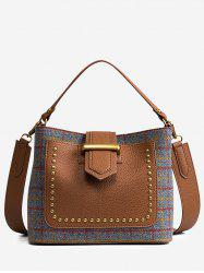 Color Block Plaid Studs Sac à main -