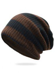 Striped Pattern Embellished Crochet Knitted Beanie -