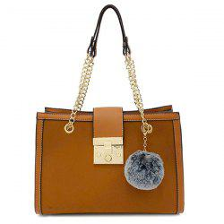 PU Leather Chain Shoulder Bag With Pompom -