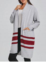 Striped Open Front Cardigan -