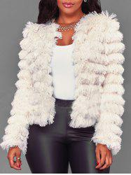Collarless Faux Fur Jacket -