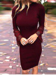 Mock Neck Lace Panel Sleeve Bodycon Dress -
