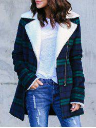 Zipper Embellished Plaid Coat -