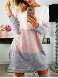 Long Sleeve Color Lump Sweater Dress -