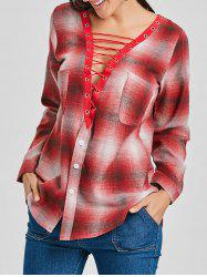 Plaid Lace Up Plunge Shirt -