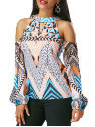 Cold Shoulder Geometric Pattern Shirt -