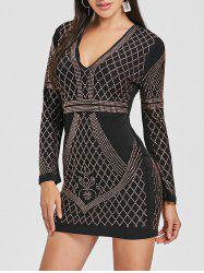 Rhinestone Plunging Mini Club Dress -