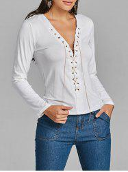 Lace Up Chain Long Sleeve Top -