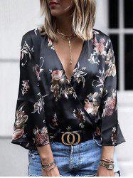 Plunging Neck Floral Print Wrap Shirt -