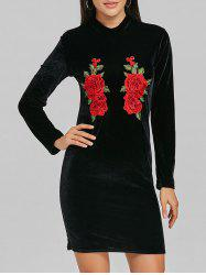 High Neck Velvet Embroidered Mini Dress -
