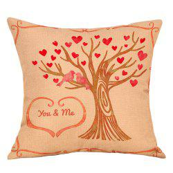 Hearts Tree Print Valentine's Day Decorative Linen Pillowcase -
