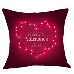 String Light Heart Print Valentine's Day Decorative Linen Pillowcase -