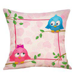 Birds Lovers Print Valentine's Day Decorative Linen Pillowcase -
