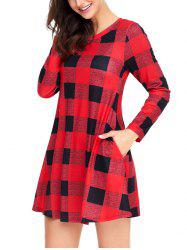 Plaid Long Sleeve A-line Dress -