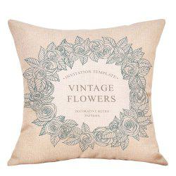 Wreath Print Valentine's Day Decorative Linen Pillowcase -