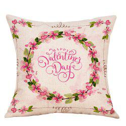 Floral Print Valentine's Day Decorative Linen Pillowcase -