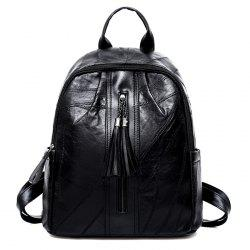 PU Leather Tassel Side Pockets Backpack -