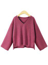 Plus Size V Neck High Low Sweater -