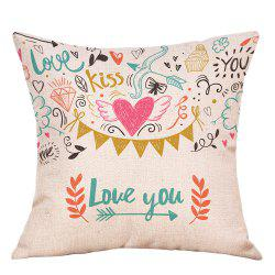 Valentine's Day Theme Print Decorative Linen Pillowcase -
