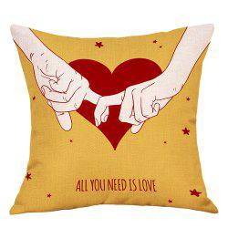 Lovers Heart Print Valentine's Day Decorative Linen Pillowcase -