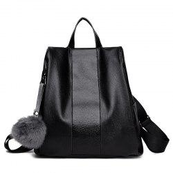 PU Leather Side Zip Pompom Backpack -