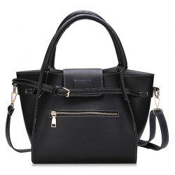 Front Zip 2 Pieces Buckle Strap Handbag Set -