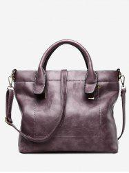 Double Handle Stitching Handbag With Strap -