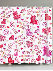 Valentine's Day Waterproof Love Confession Letters Printed Shower Curtain -