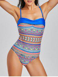 Backless One Piece Tribal Print Swimsuit -