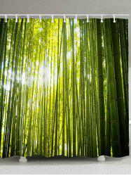Bamboo Forest Print Waterproof Fabric Bath Curtain -