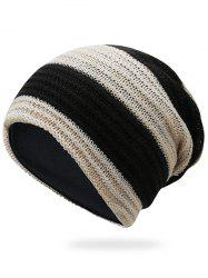 Outdoor Striped Pattern Color Splice Crochet Knitted Beanie -