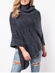 Turtleneck Asymmetrical Poncho Sweater -