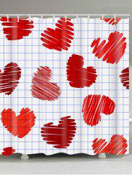 Waterproof Checks and Heart Printed Valentine's Day Shower Curtain -