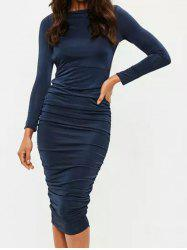 Long Sleeve Backless Ruched Dress -
