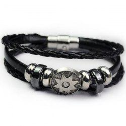 PU Leather Rope Braid Engraved Sun Bracelet -