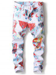 Straight Leg Cartoon Painting Print Jeans -