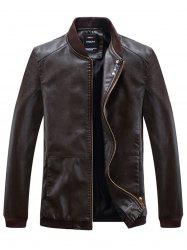 Buttons Embellished PU Leather Zip Up Jacket -