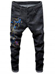 Bird and Florals Embroidered Ripped Jeans -
