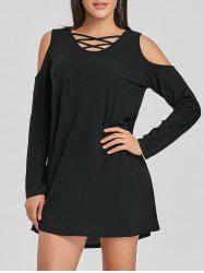 Lattice Cut Cold Shoulder Mini Dress -