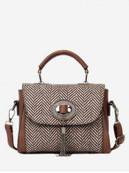 Zigzag Pattern Tassels Tweed Sac à main -